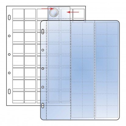 Compact 25mm coins 48 clear pockets on White Sheet (48) (Pack of 10)