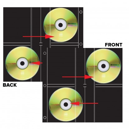 Archival Octet Side Loading CD/DVD pocket Refills (8 CD/DVDs)