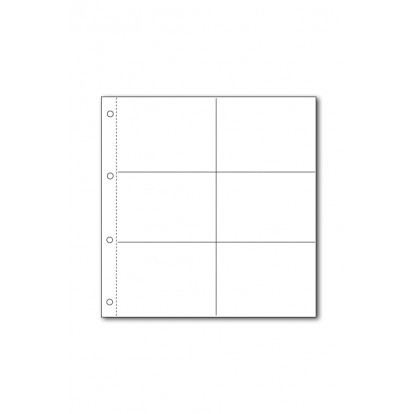 White Large Format Acid-Free Postcard Pocket Refill (6) 160x108mm Pk of 5