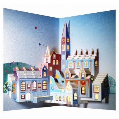 Cathedral Town Scene - Amazing Pop-up Laser Cut Greeting Card