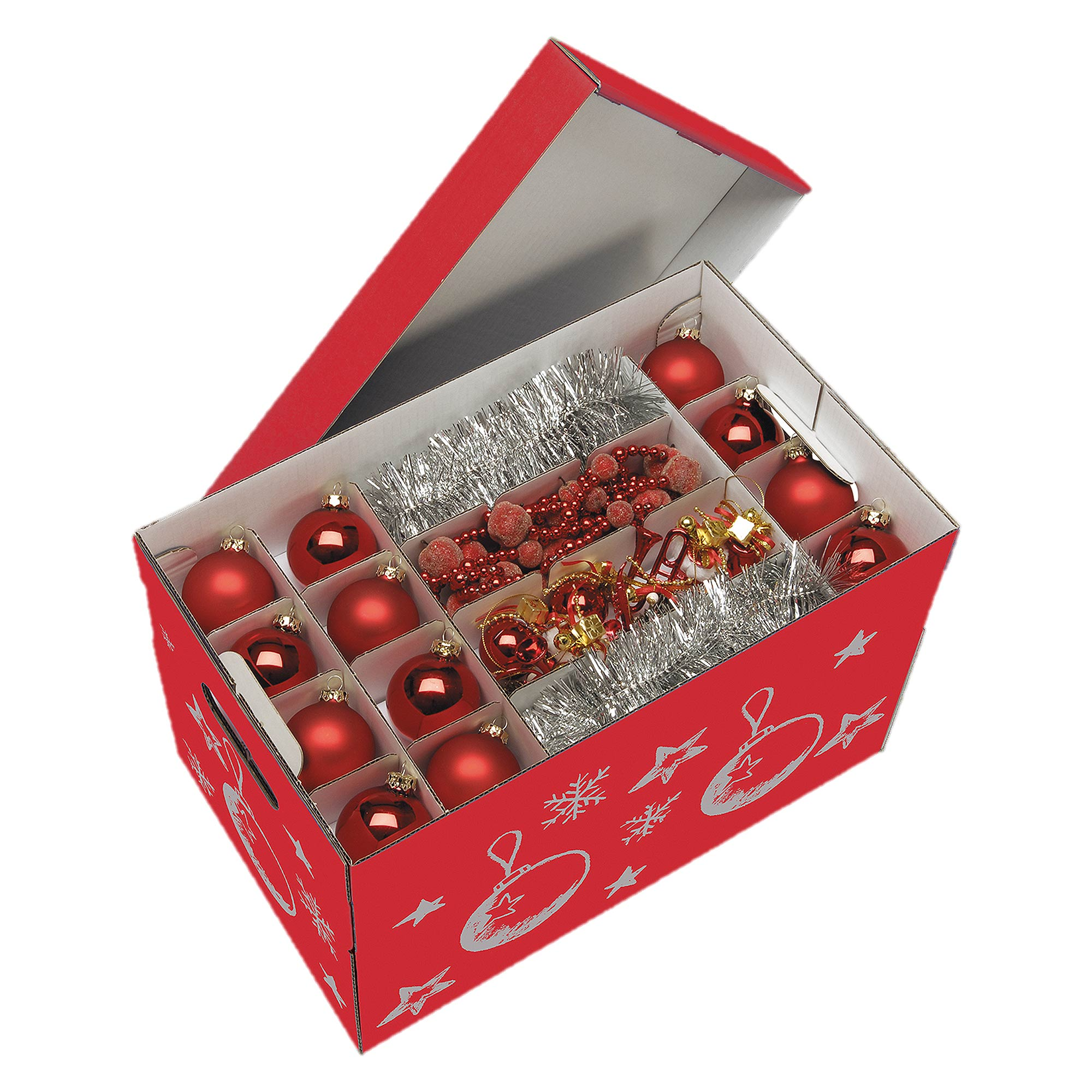 Christmas baubles and decoration storage box red Christmas bauble storage