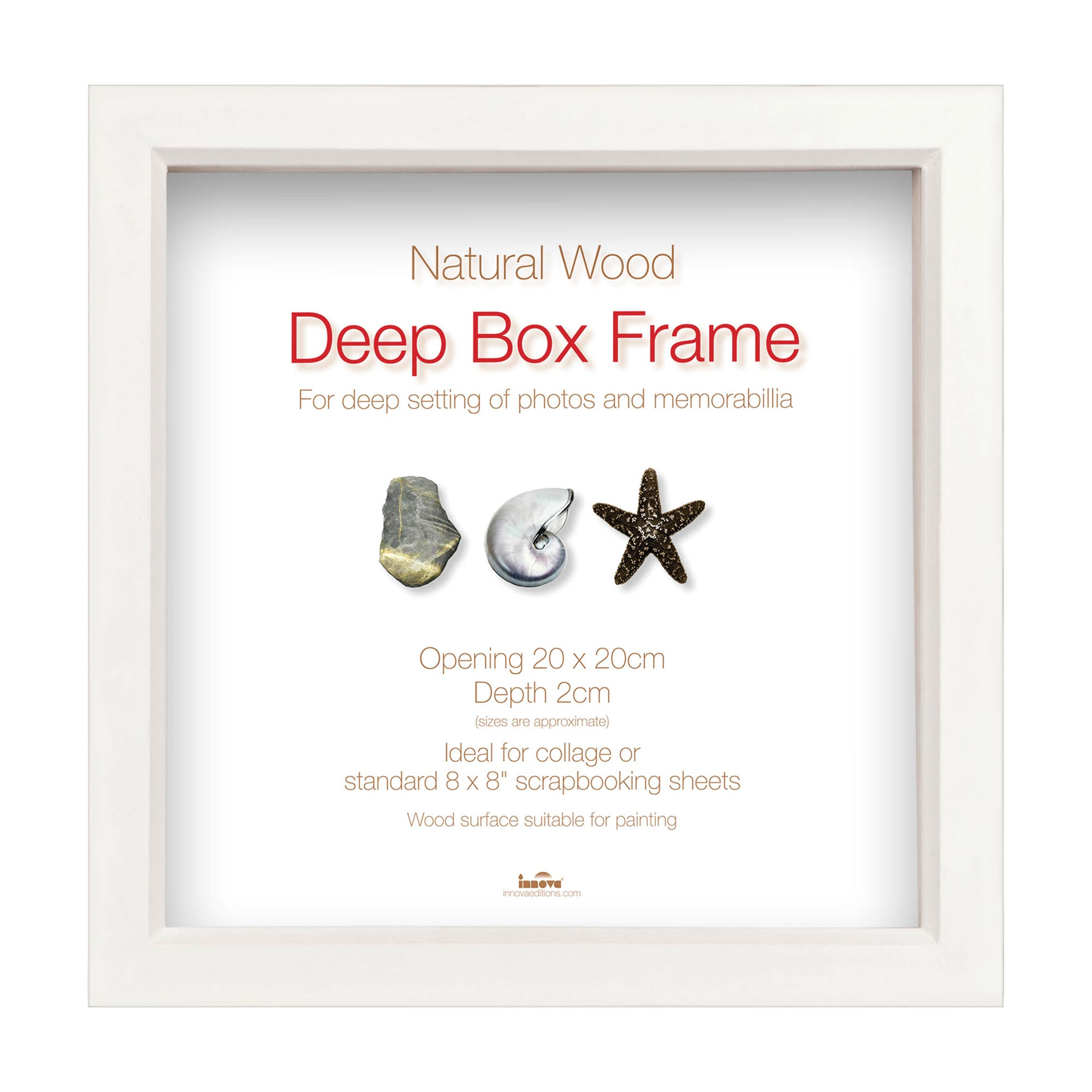 White Wood Deep Box Showcase Frame -8x8\
