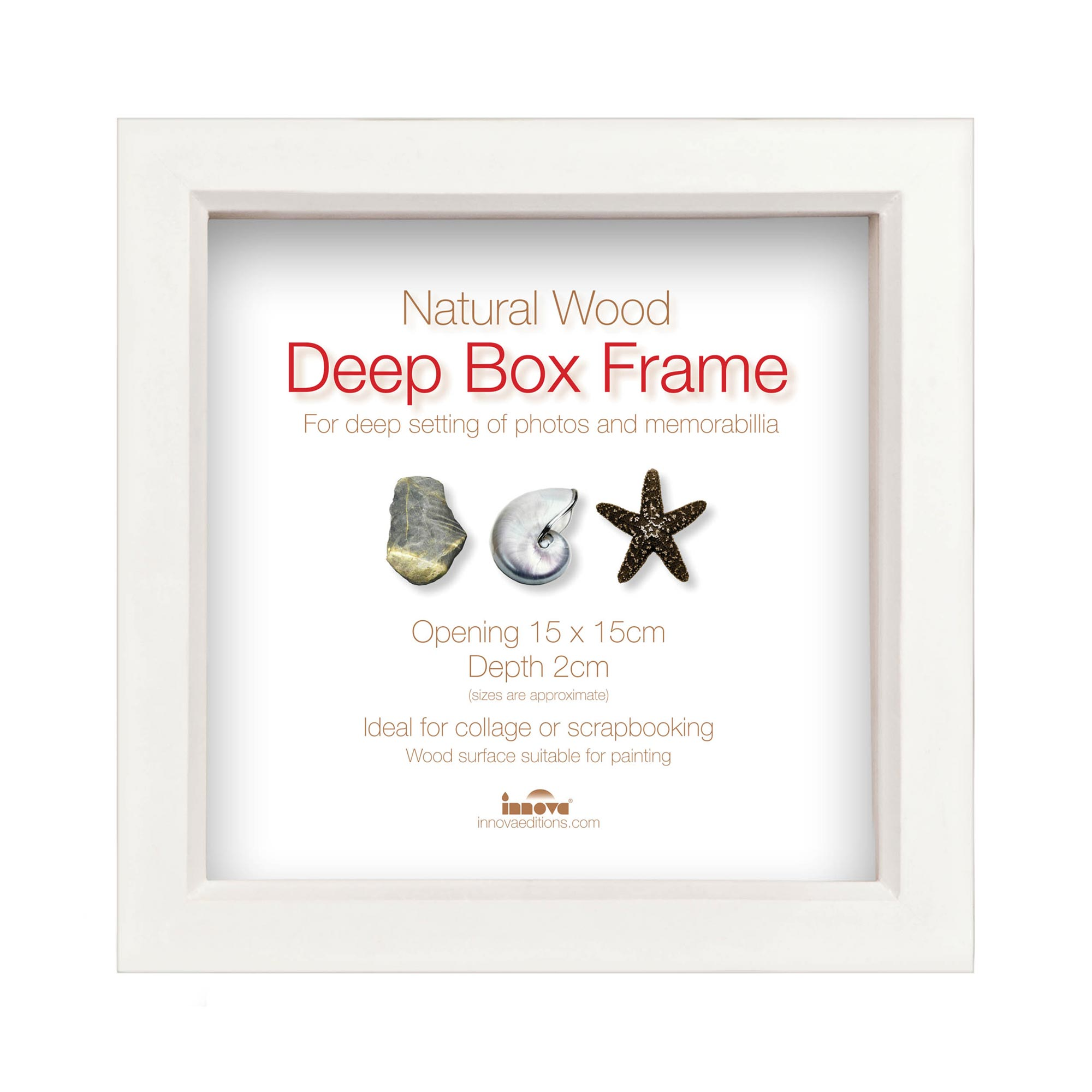 white wood deep box showcase frame 6x6