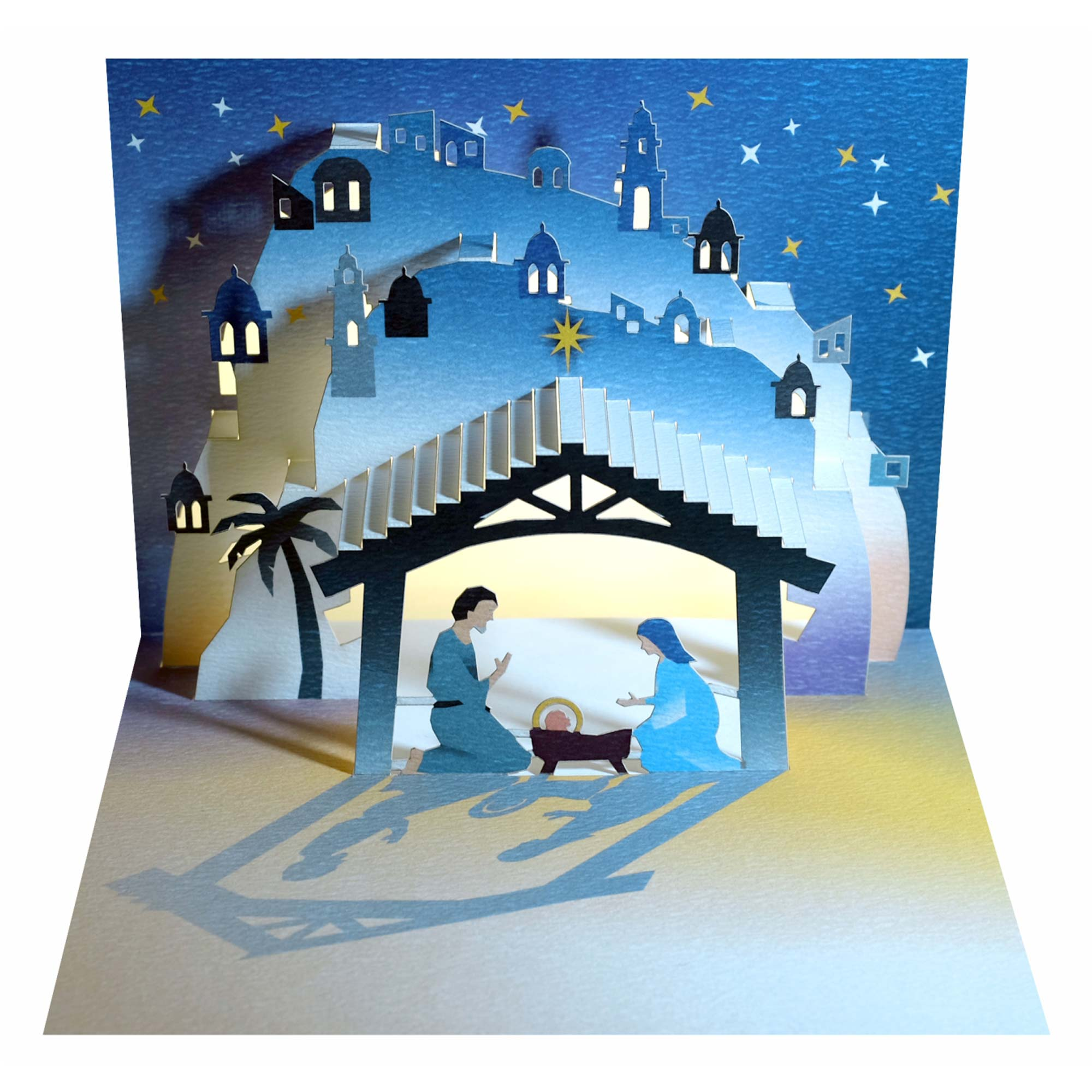 GE Feng Forever Christmas POP UP Greeting Cards - Nativity Manger