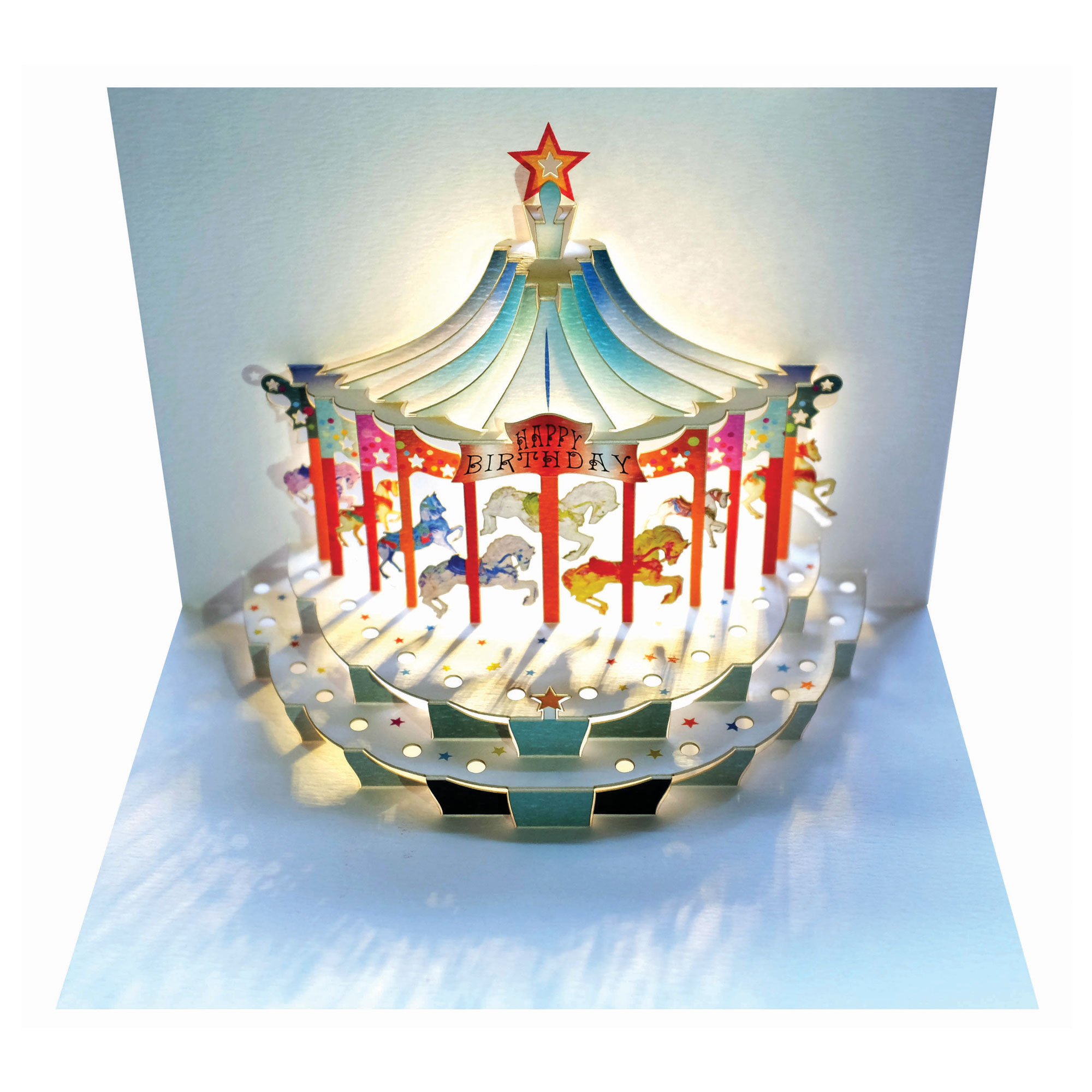 GE Feng Forever Happy Birthday Carousel Amazing Popup Greeting Card – Happy Birthday Pop Up Cards