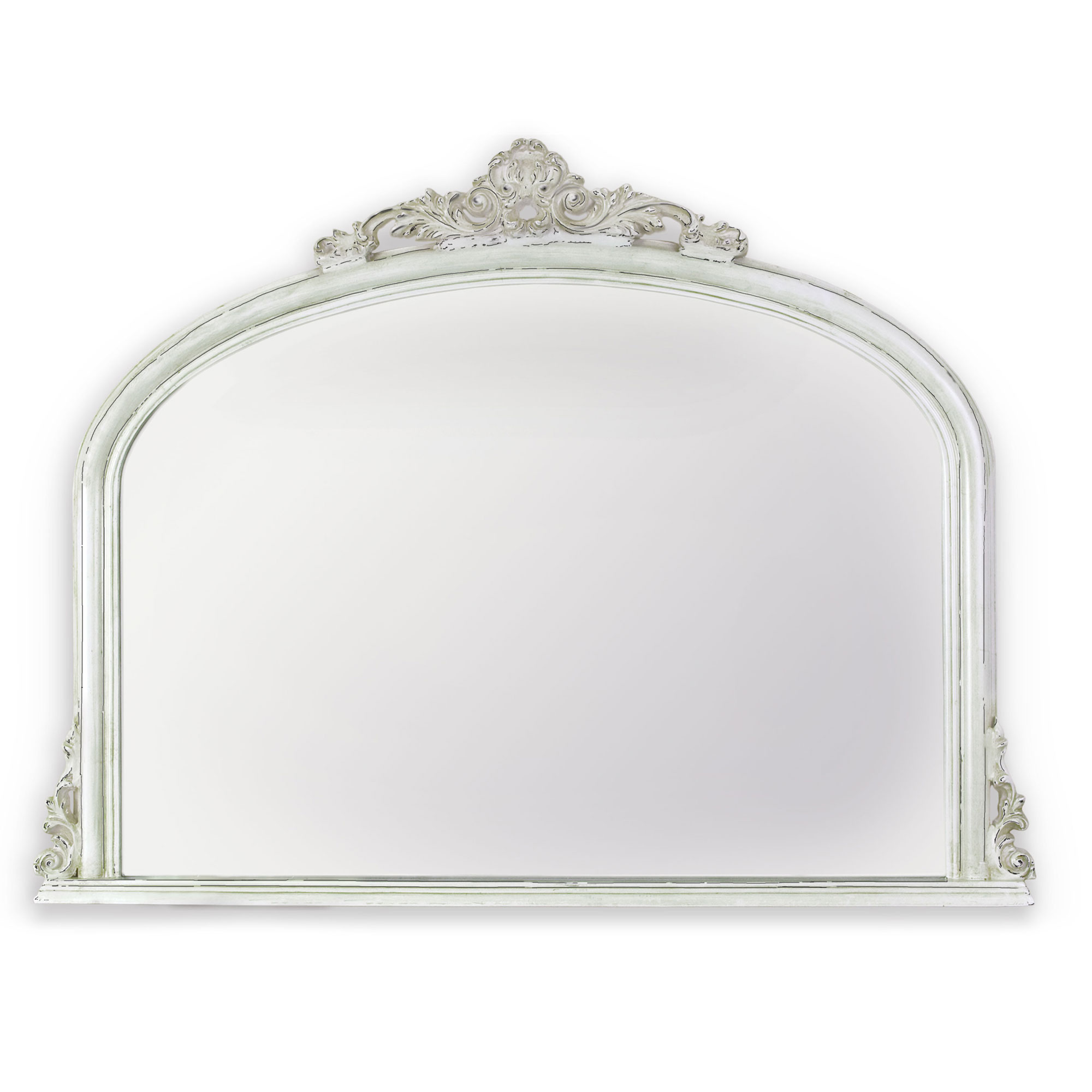 Amarone Distressed White Crowned Mirror 720x960mm